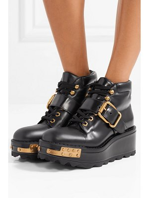 Prada embellished leather wedge ankle boots
