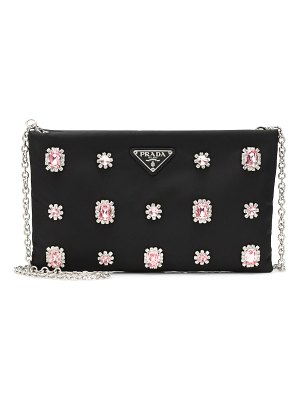 Prada embellished nylon shoulder bag