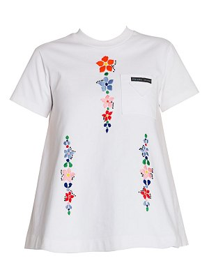 Prada floral-embroidered cotton jersey tee