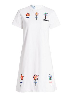 Prada floral embroidered jersey shift dress