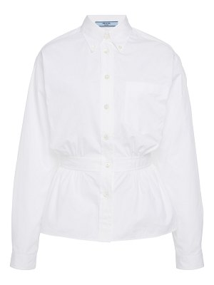 Prada gathered button down shirt
