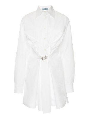 Prada gathered poplin button-up shirt