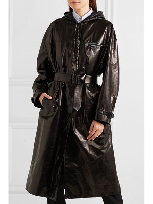 Prada hooded patent-leather trench coat