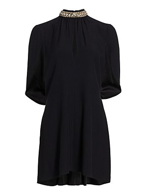 Prada jeweled neck cape sleeve dress