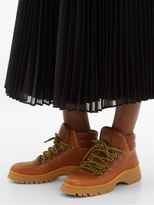Prada lace up leather hiking boots