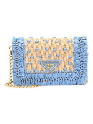 Prada Leather and raffia shoulder bag