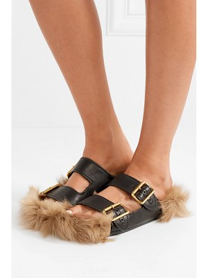Prada leather and shearling slides