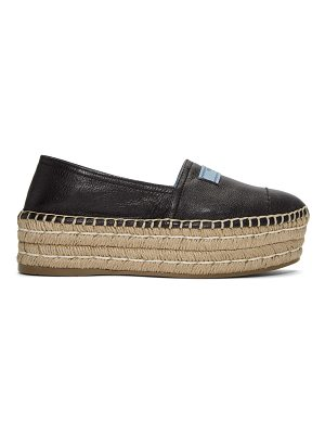 Prada Leather Double Platform Espadrilles