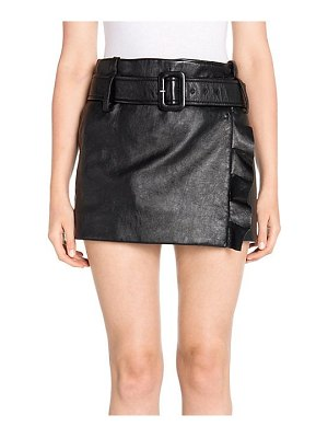 Prada leather ruffle mini skirt