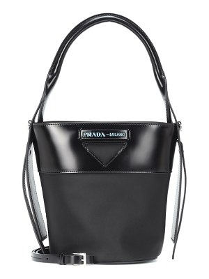 Prada leather-trimmed nylon bucket bag