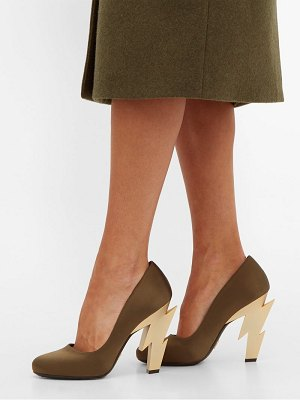 Prada lightning bolt heel satin pumps