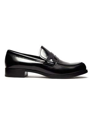 Prada Logo Leather Penny Loafers