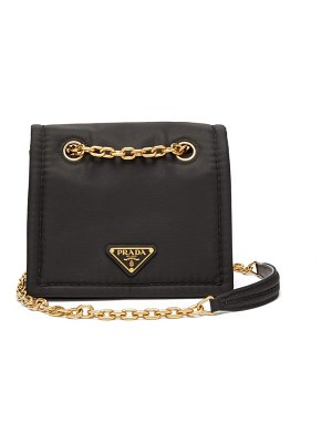 Prada logo plaque nylon cross body bag