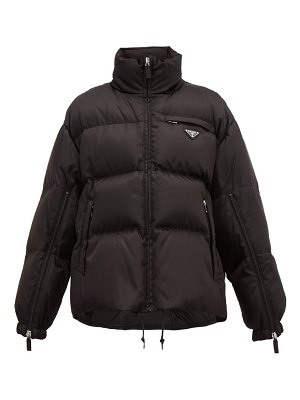Prada logo plaque quilted down nylon jacket