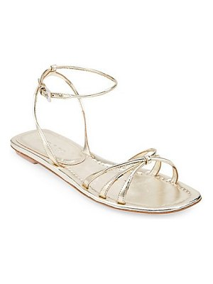 Prada metallic leather flat sandals
