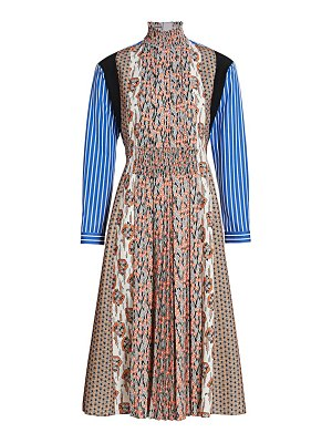 Prada mixed print pleated front midi dress