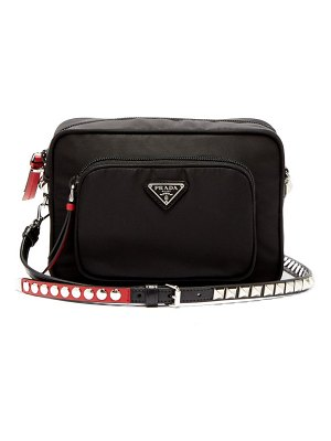 Prada new vela mini studded nylon cross body bag