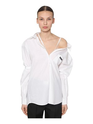 Prada Off-the- shoulder cotton poplin shirt