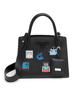 Prada patched monochrome leather satchel