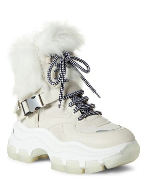 Prada platform boot with genuine shearling lining