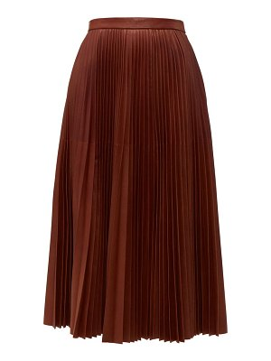 Prada pleated leather midi skirt