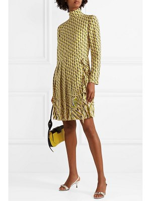 Prada pleated printed silk crepe de chine dress