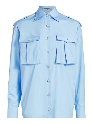 Prada poplin military button-front shirt
