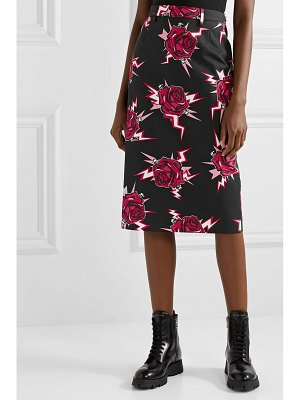Prada printed cotton-poplin skirt