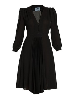 Prada puff sleeve pleated a-line dress