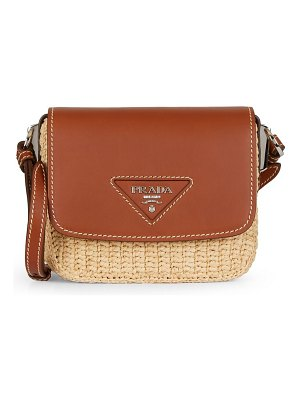 Prada raffia & leather crossbody bag