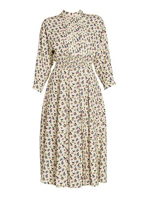 Prada raso floral & swallow print midi dress
