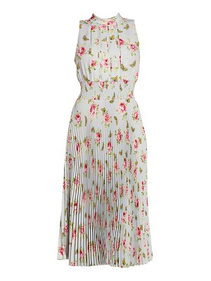 Prada rose print pleated midi dress