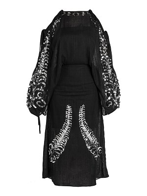 Prada sequin embroidered cold shoulder dress