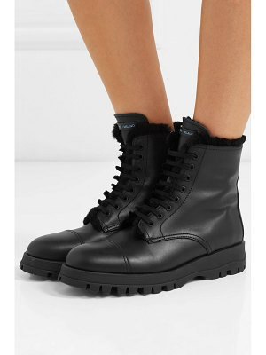 Prada shearling-lined leather ankle boots