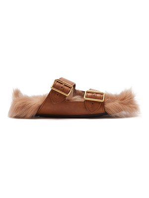 Prada shearling lined leather sandals