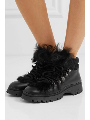 Prada shearling-trimmed leather ankle boots