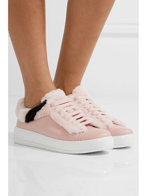 Prada shearling-trimmed leather sneakers