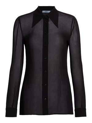 Prada sheer crepe button down shirt