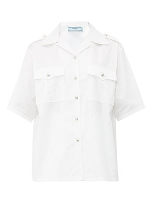 Prada shoulder epaulette cotton poplin shirt