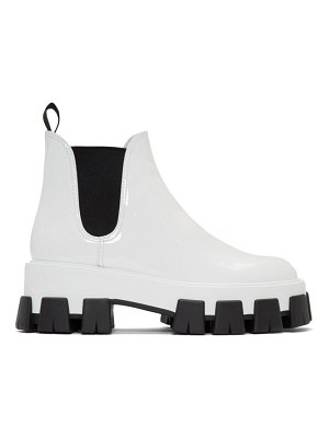 Prada white patent ankle boots