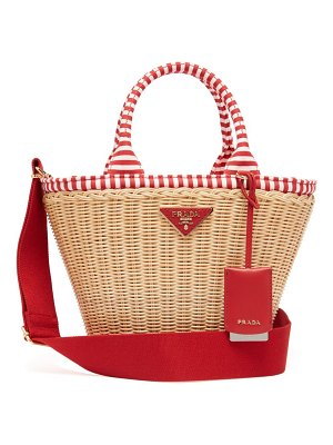 Prada wicker and canvas basket bag