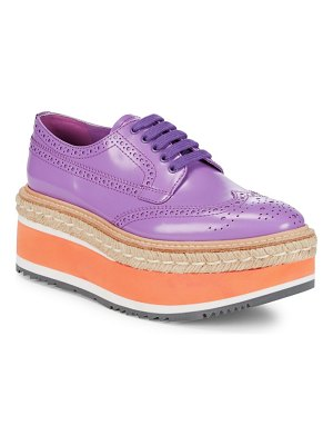 Prada Wingtip Leather Platform Espadrilles