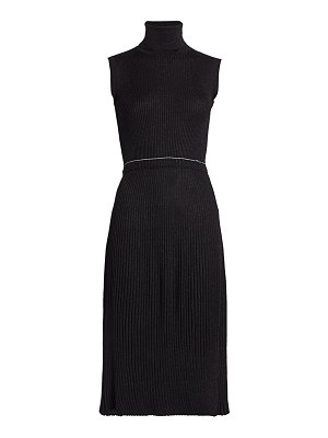 Prada wool-blend lurex ribbed turtleneck dress
