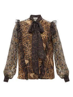 Preen by Thornton Bregazzi blakely leopard and snake print pussy bow blouse