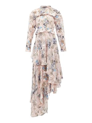 Preen by Thornton Bregazzi caylee floral devoré-satin tiered maxi dress