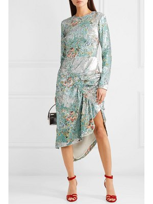 Preen by Thornton Bregazzi daisy ruched floral-print sequined crepe midi dress