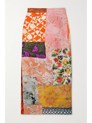 Preen by Thornton Bregazzi evelyn patchwork jacquard, printed canvas and twill skirt