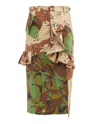 Preen by Thornton Bregazzi floral upcycled camouflage cotton-blend midi skirt