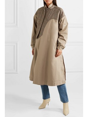 Preen by Thornton Bregazzi hannah layered cotton-twill and prince of wales checked wool-canvas coat