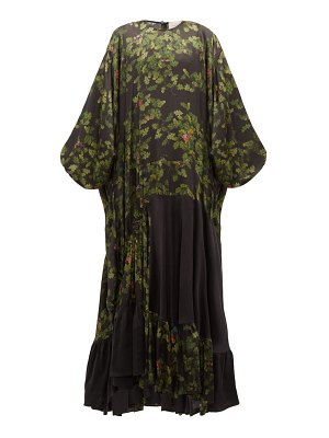 Preen by Thornton Bregazzi harper leaf-print satin maxi dress